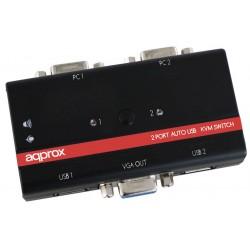 Kvm de 2 Puertos VGA 2 Puertos USB y Audio Approx